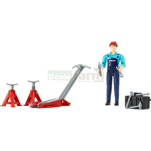 bWorld Garage Mechanic Set with Equipment and Figure (Bruder 62100)