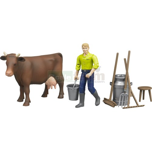 bWorld Farming Milking Set with Figure and Cow (Bruder 62605)