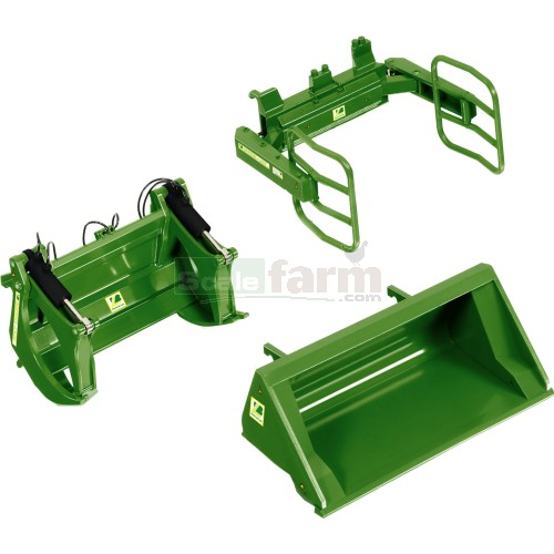 Front Loader Attachment Set A - John Deere Green (Wiking 7381)