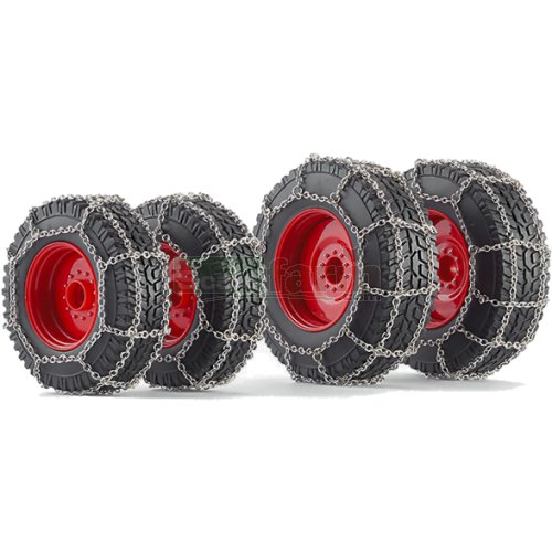 Wheel Set with Snow Chains for Fendt 828 (2014) Tractor (Wiking 7391)
