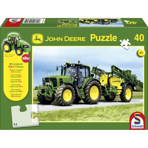 John Deere 6630 Tractor and Sprayer 40 piece Jigsaw with SIKU Model Tractor (Schmidt 55625)