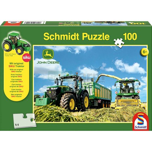 John Deere 7310R Tractor and 8600i Forage Harvester 100 Piece Jigsaw with SIKU Model Tractor (Schmidt 56044)