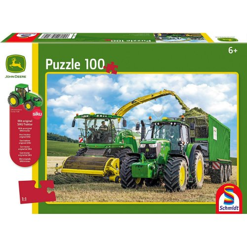John Deere 6195M Tractor and 8500i Forage Harvester 100 Piece Jigsaw with SIKU Model Tractor (Schmidt 56315)