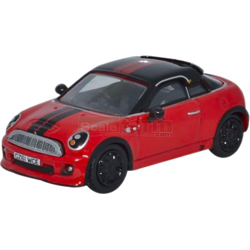 Mini Coupe - Chilli Red/Black (Oxford 76MC003)