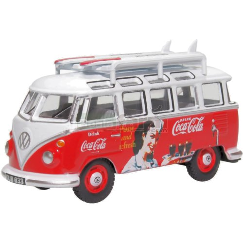 VW T1 Bus with Surfboards - Coca Cola (Oxford 76VWS008CC)