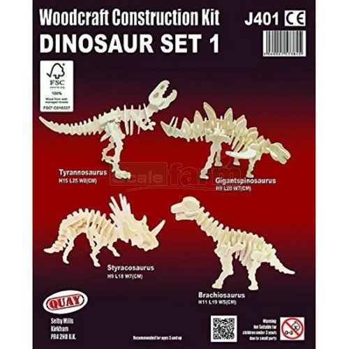 Dinosaur Set 1 Woodcraft Construction Kit (Quay J401)