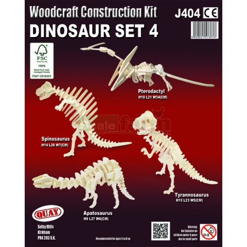 Dinosaur Set 4 Woodcraft Construction Kit (Quay J404)