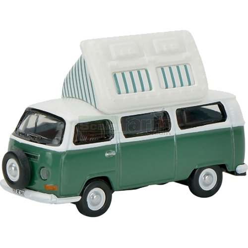 VW T2a Camper - Roof Up (Green/White) (Schuco 26081)