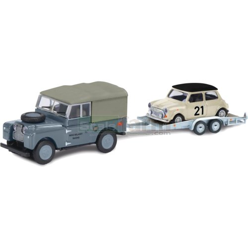 Land Rover 88 with Trailer and Mini Cooper - Delaney Racing (Schuco 26327)