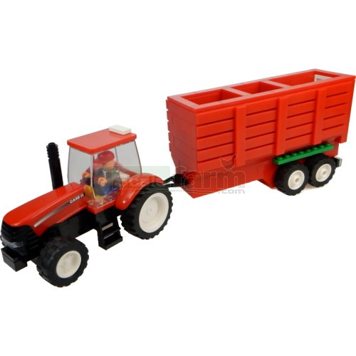 Case IH Tractor with Hopper Trailer Building Block Kit (Universal Hobbies K1205)
