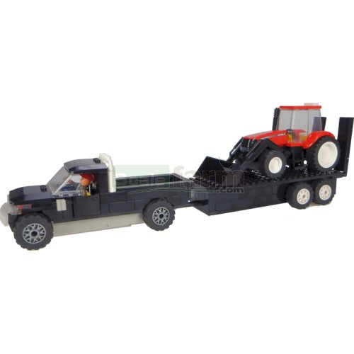 Pickup and Trailer with Case IH Front Loader Tractor Building Block Kit (Universal Hobbies K1206)