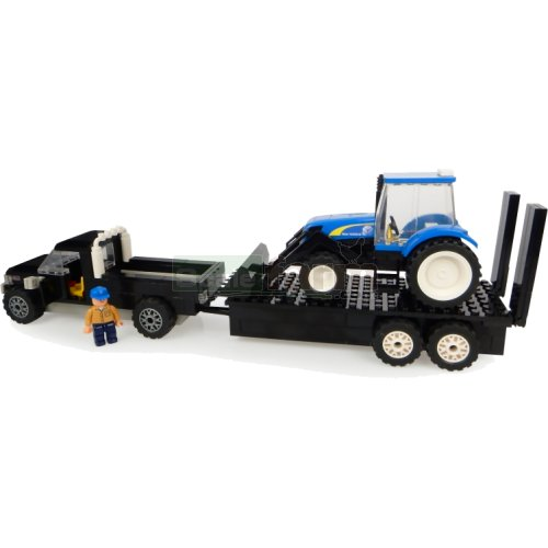 Pickup and Trailer with New Holland Front Loader Tractor Building Block Kit (Universal Hobbies K1211)