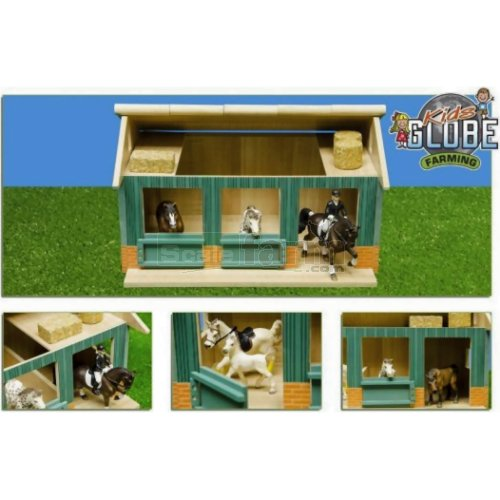 Wooden Horse Stable with Workshop and 2 Loose Boxes (Kids Globe 610002)