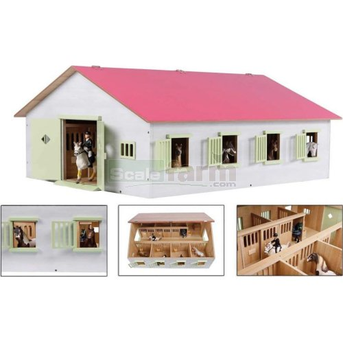 Large Horse Stable with 7 Horse Stalls - Pink (Kids Globe 610189)