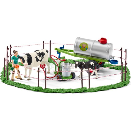 Milking Set with Tanker, Milk Churn, Cow, Figure and Fencing (Schleich 41428)
