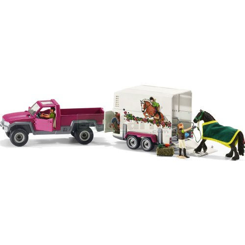 Pickup with Horse Box, Horse, 2 Figures and Accessories Set (Schleich 42346)