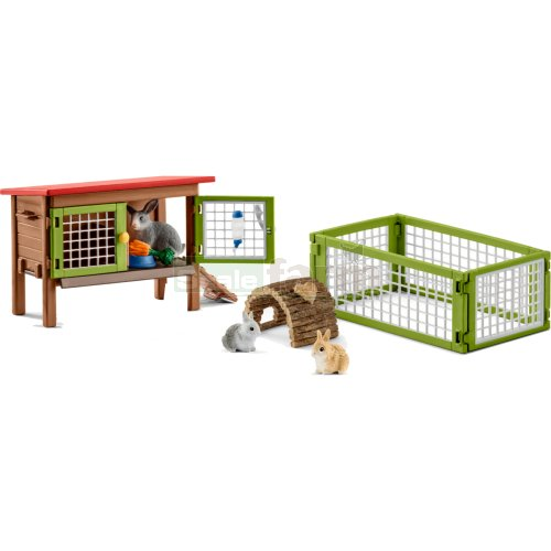 Rabbit Hutch with Rabbits and Accessories Set (Schleich 42420)